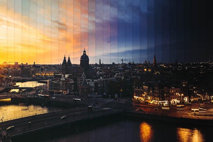 Амстердам: коллаж из 29 фотографий, снятых каждые 45 минут.