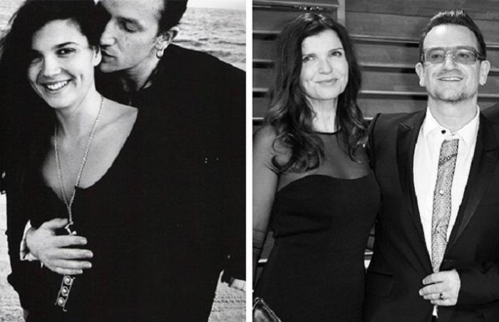 Боно и его супруга познакомились, когда учились в школе и им было по 15-16 лет, и уже 33 года счастливы в браке.