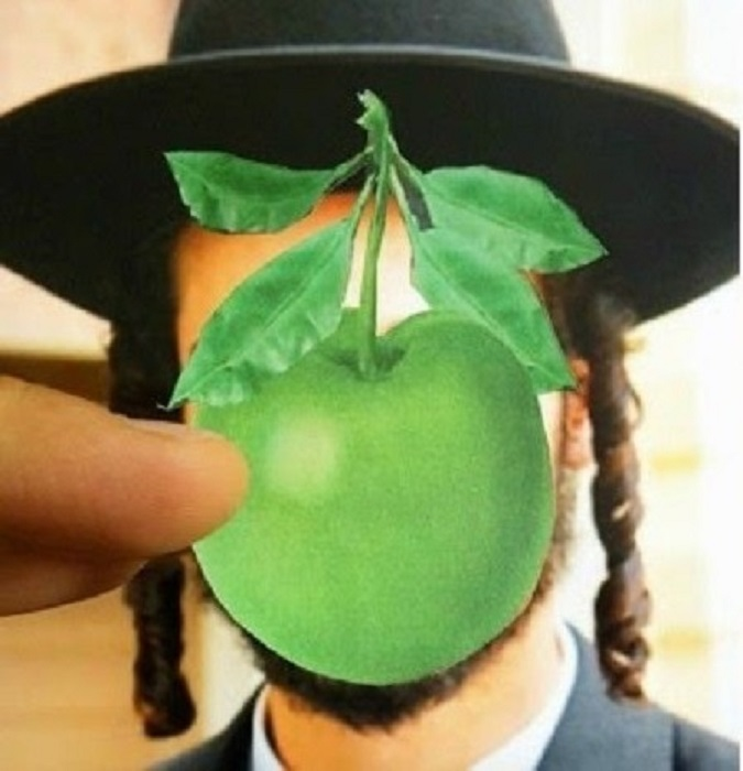Лицо человека фактически закрыто парящим перед ним зелёным яблоком.