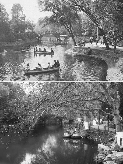 Городской парк практически не изменился, за исключением прогулочных лодок.