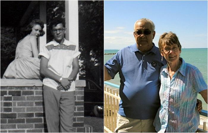 «Мои дедушка с бабушкой в 1950-х годах и сегодня».
