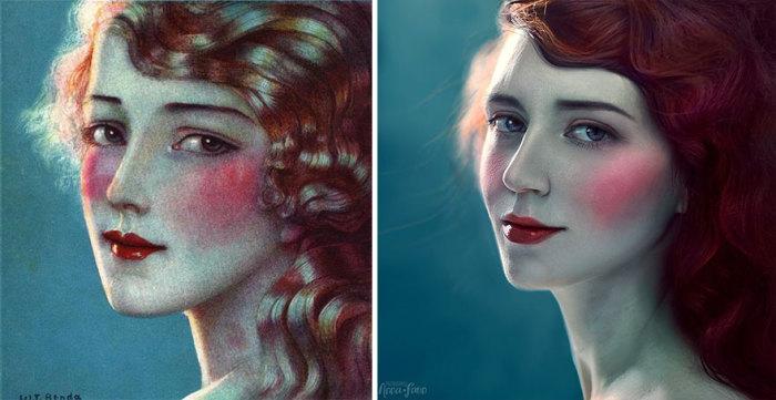 Женский портрет на иллюстрации польско-американского художника Владислава Теодора Бенды.