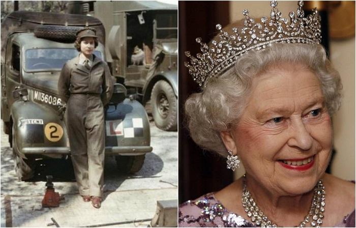 Царствующая королева Великобритании в 1945 году вступила в женский отряд самообороны и прошла подготовку как механик-водитель санитарного автомобиля, получив воинское звание лейтенанта.