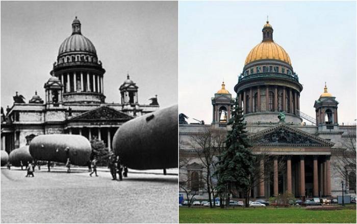 Российские города сразу после окончания войны и спустя 70 лет.