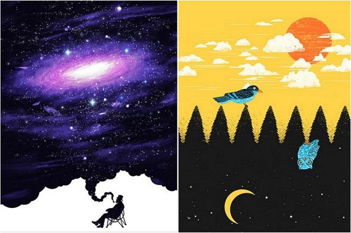 Удивительные иллюстрации-иллюзии.