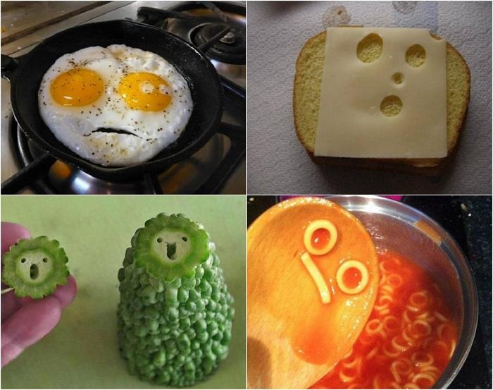 Забавные рожицы на продуктах питания.