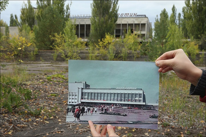 Дворец культуры «Энергетик», в городе Припять, в 1986 году, и таким он стал сейчас.