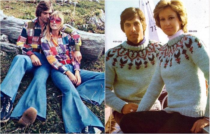 Модная парная одежда из 1970-х годов ХХ столетия.