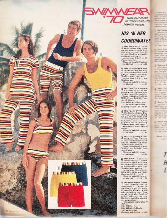 Яркая и полосатая пляжная мода 1970-х годов.