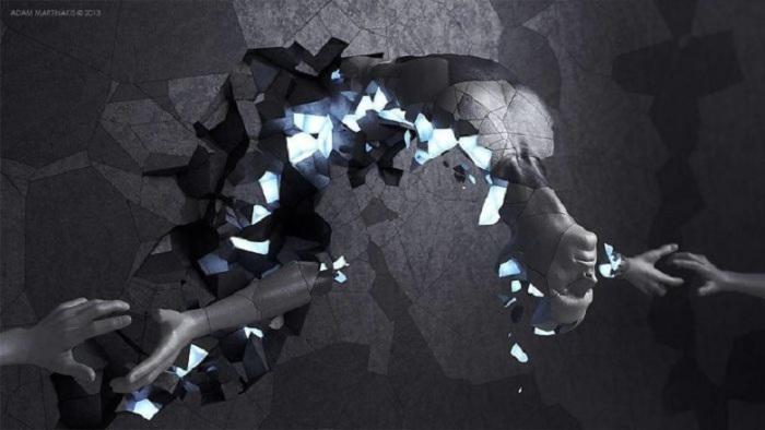 Зеркальные обломки человека воссоединяются в единое целое.
