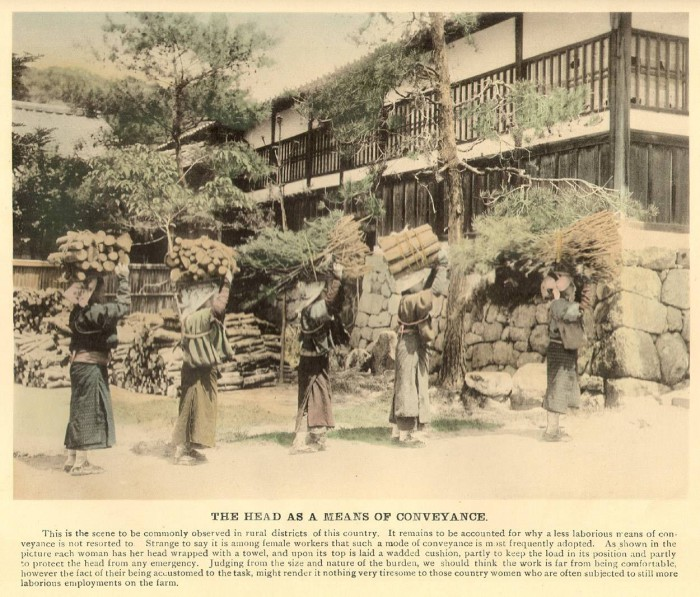 Женщины во время заготовки дров.