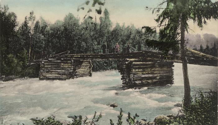 Деревянный мост через реку Кучурла, приток реки Катунь.