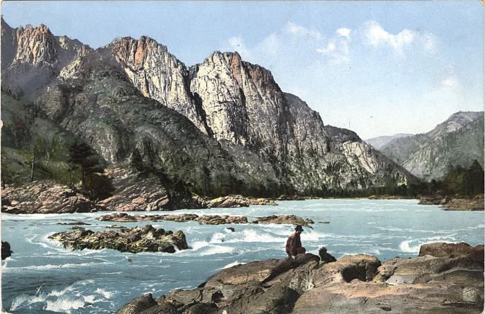 Порог на реке Катунь выше села Чемал.