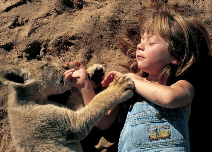 Необычная девушка, детство которой прошло в Африке в окружении диких животных, ставших ей лучшими друзьями. Фотограф Alain Degre.