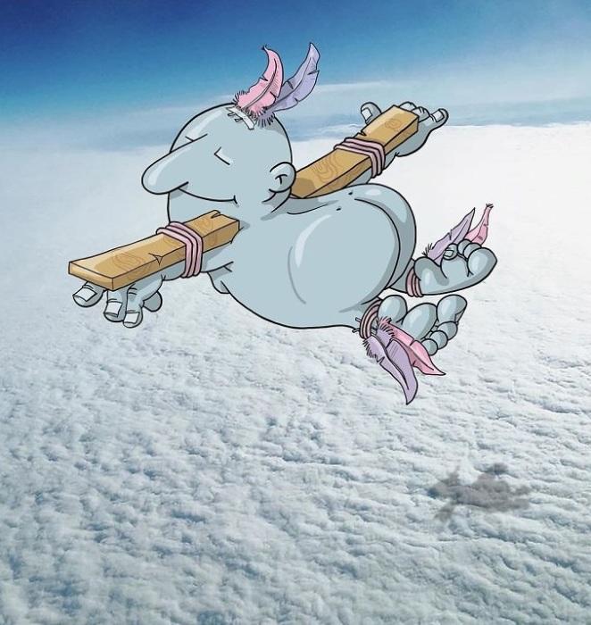 Я летаю выше облаков, как птица.