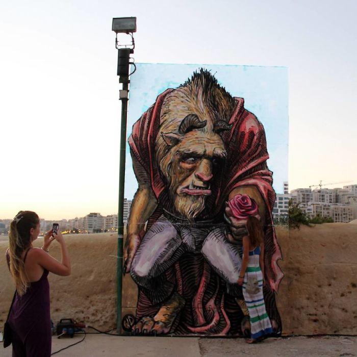 Работа, выполненная греческим художником специально для фестиваля стрит-арта в городе Валетта, Мальта (2015 год).