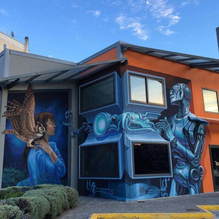 Фантастический стрит-арт, созданный художником на одном из офисных зданий в Афинах, Греция (2017 год).