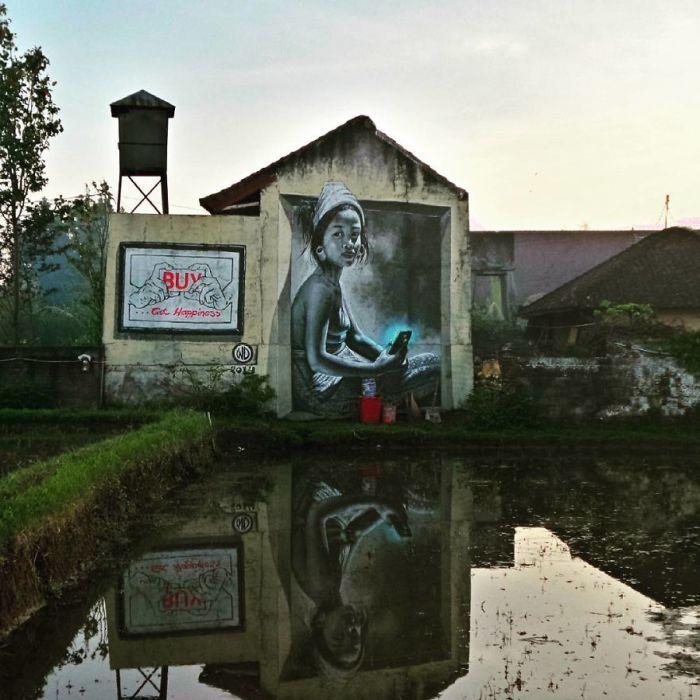 Большой рисунок, выполненный греческим художником на одном из зданий острова Бали (2014 год).