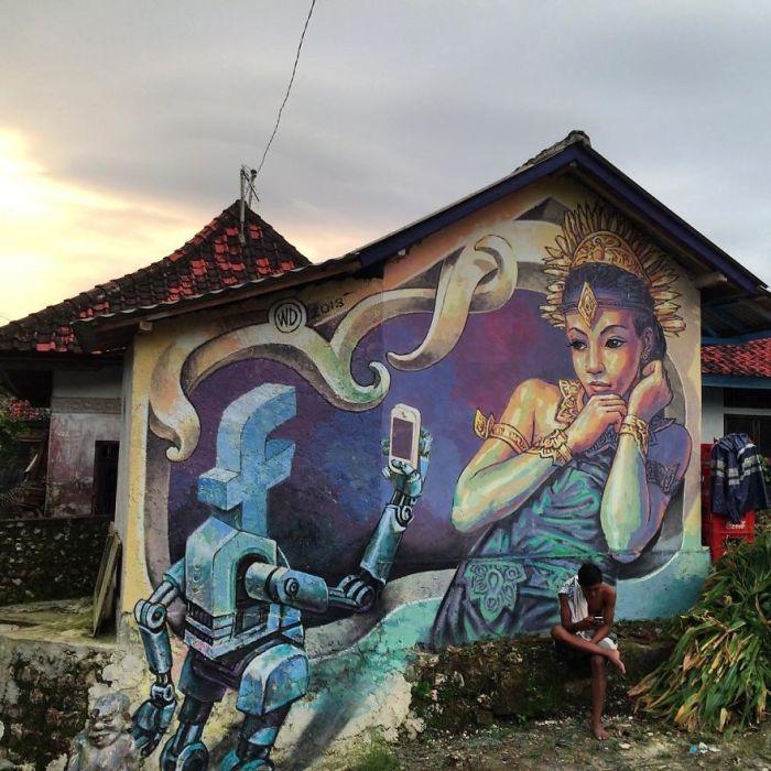 Стрит-арт, выполненный на стене жилого дома на острове Нуса-Пенида, Бали (2018 год).