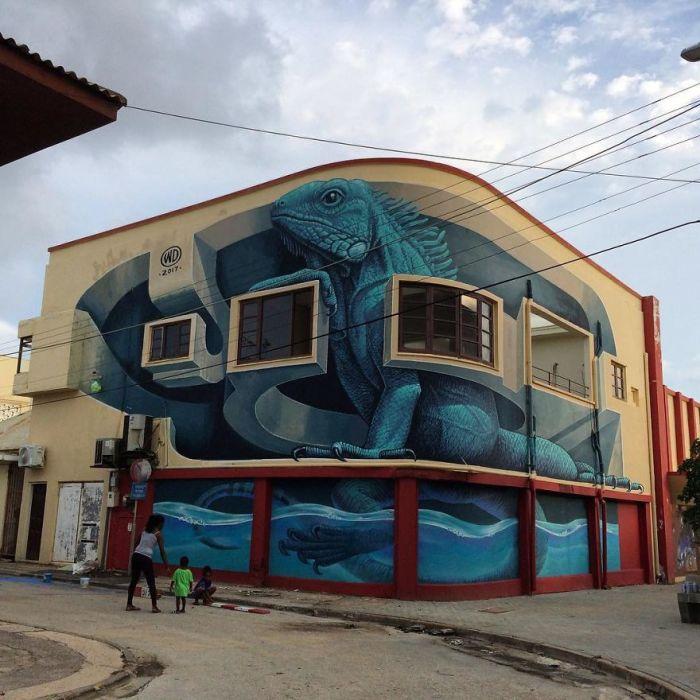 3-D рисунок, созданный талантливым художником на стене жилого дома на острове Аруба (2017 год).
