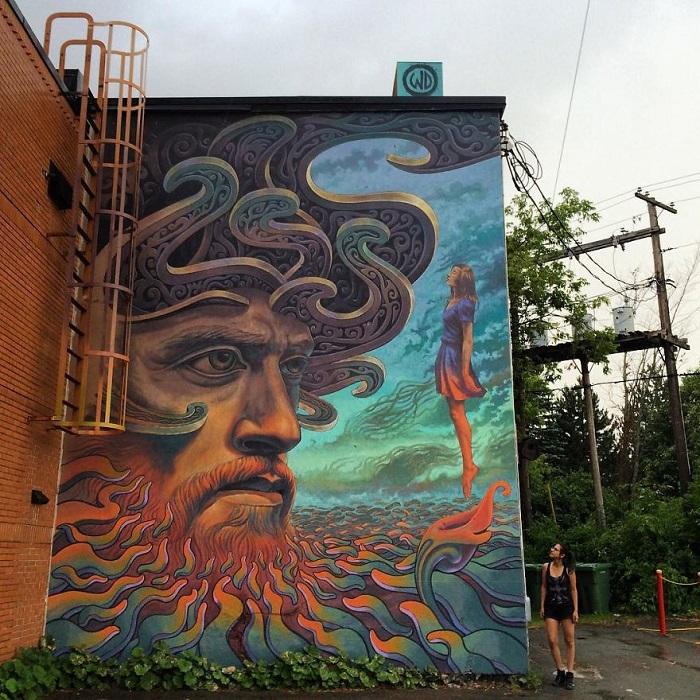 Работа, созданная художником специально для фестиваля стрит-арта в Канаде (2017 год.)