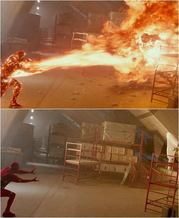 Актёр в костюме на котором установлены маркеры для трекинга. По этим точкам компьютер рассчитывает траекторию нарисованного «огненного человека».