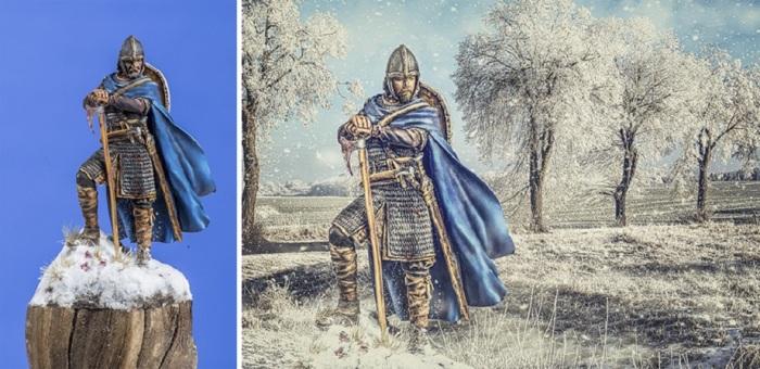 Героями обрабатываемых в графическом редакторе фотографий могут быть не только люди, но и фигурки древних воинов, например.