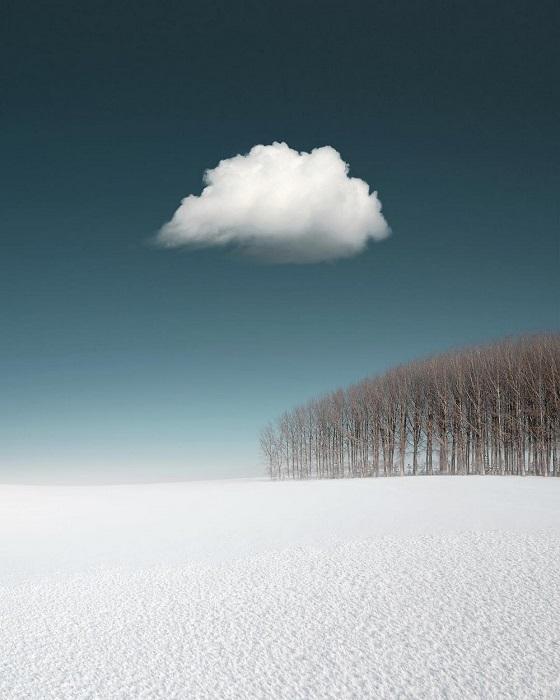 Пушистое облако проплывает над бесконечно белым полем.