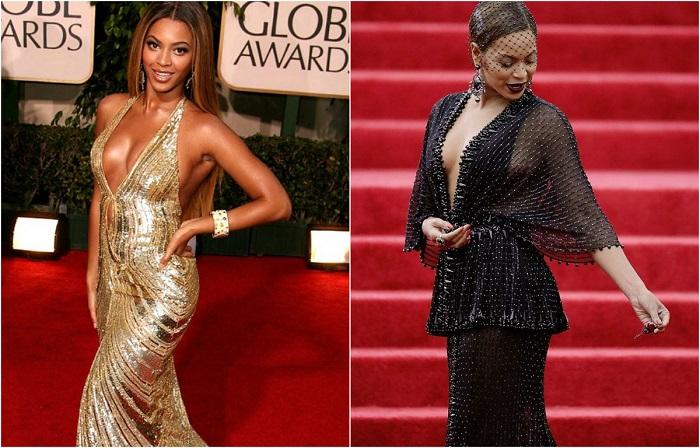 Блестящее золотое платье от модного дизайнера Elie Saab прекрасно подчеркивает женственные формы певицы. Роскошное чёрное платье от Givenchy с глубоким декольте соблазнительно открывает грудь.