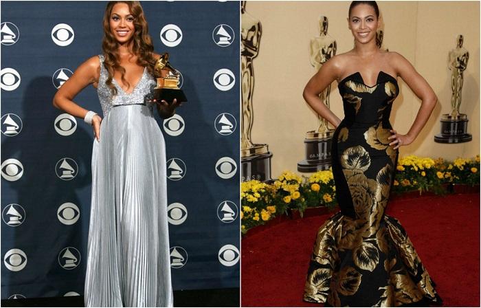 Знаменитая соул-дива выглядит великолепно в изящном сером платье в греческом стиле. На кинопремии Оскар Бейонсе появилась в великолепном черном платье от House of Dereon с золотыми цветами.