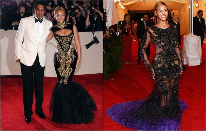 Безупречное чёрное платье с шикарной вышивкой от Emilio Pucci выгодно подчеркивает соблазнительные формы Бейонсе. Шикарное платье со шлейфом от Givenchy прекрасно смотрится на Бейонсе и подчеркивает ее чувство стиля.