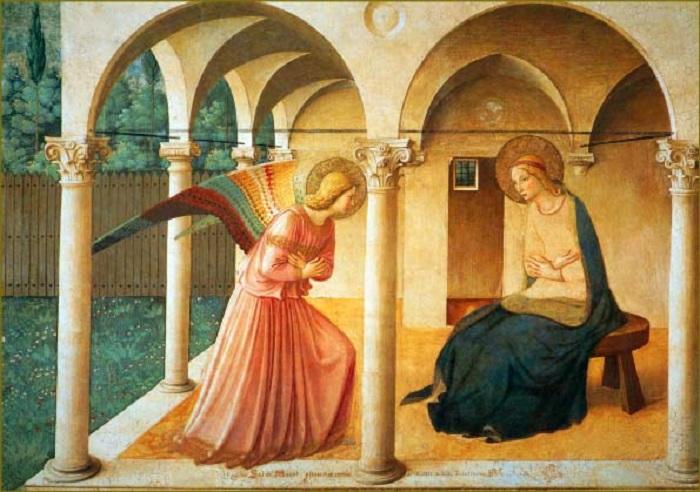 Ангел в ярком наряде смиренно преклонил голову, приветствуя Деву, чье синее одеяние символизирует ту небесную роль, которая выпала на ее долю. Ощущение гармонии создается от симметрично скрещенных рук Девы и архангела Гавриила, несмотря на разделяющие ангела и Деву колонны.