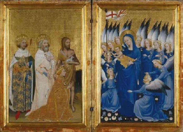 Ричард II в Англии со своим святым покровителем Иоанном Крестителеми святыми Эдуард и Эдмунд представлены Богоматери с младенцем.