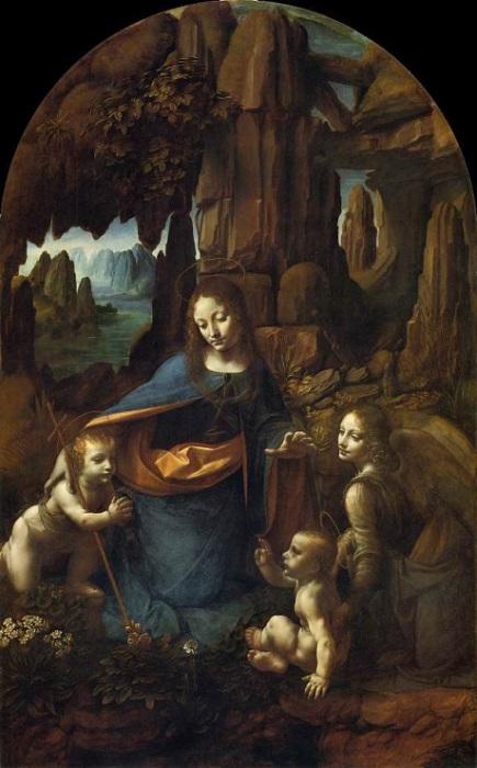 В луврской картине художник изобразил только четыре расположенные на первом плане фигуры — деву Марию, ангела, младенца Христа и маленького Иоанна Крестителя.