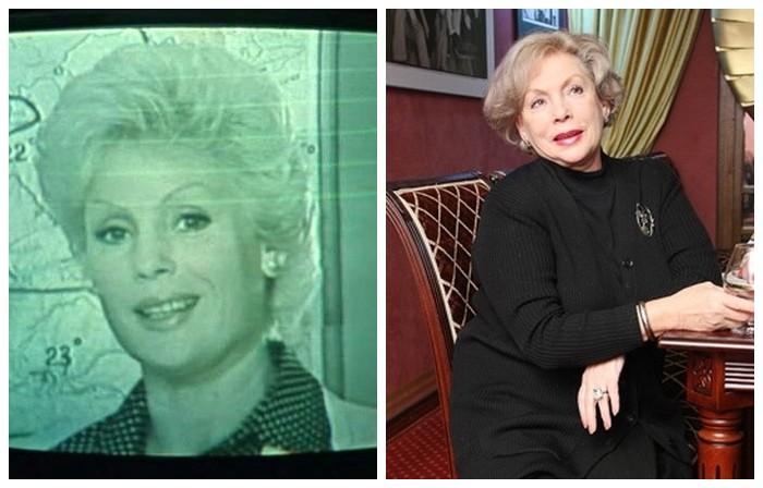 Актриса с 1955 года снимается в кино, является автором телевизионных программ, в ленте эпизодический персонаж - жена Платона Рябинина, ведущая прогноза погоды на телевидении.