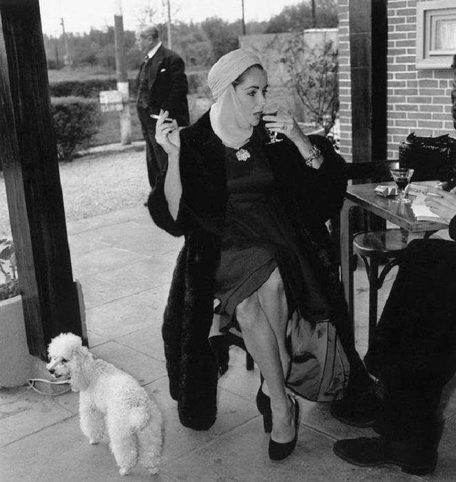 «Королева Голливуда» с любимым пудельком Джи-Джи даёт интервью в аэропорту США перед отлётом в Ниццу, 23 апреля 1957 года.