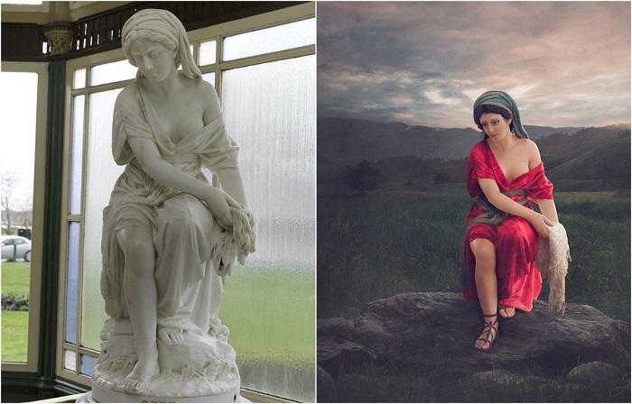 Раскрашенные мраморные статуи.