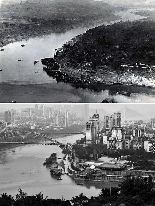 Город на слиянии рек Цзиньшацзян, Миньцзян и Янцзы, порт которого обслуживает громадное количество грузоперевозок.