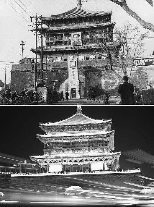 Башня с часами была построена вскоре после создания КНР в 1949 г. С тех пор она приняла более современный облик и теперь является одним из самых оживленных мест города.