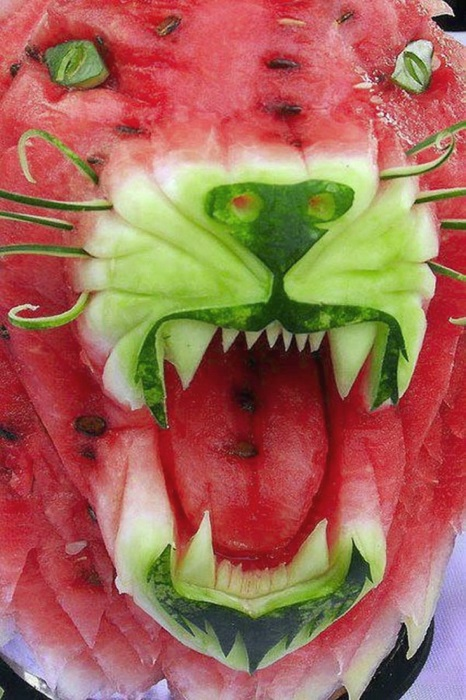 Глаза горят яростью, саблезубый оскал, кажется что тигр сейчас зарычит и бросится на жертву.