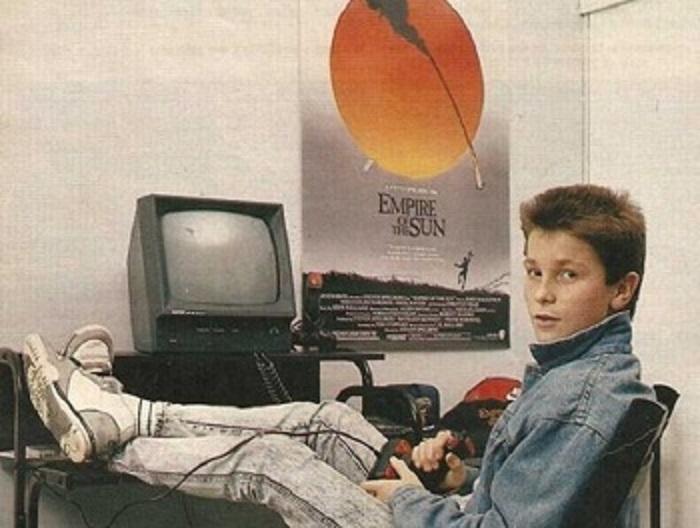 Кристиан с компьютером Amstrad, 1984 год.
