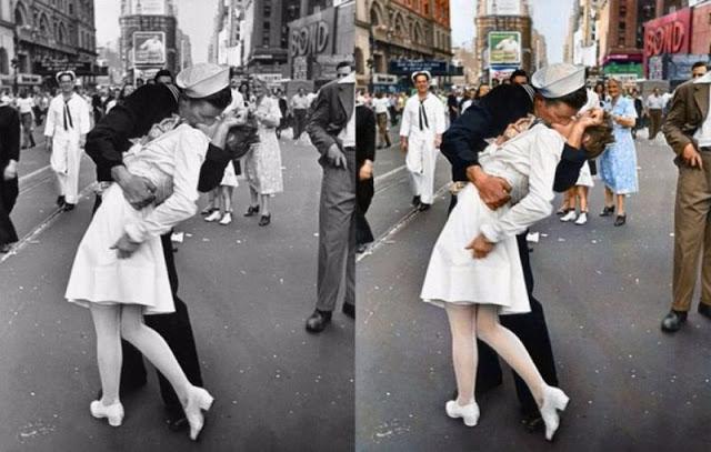 Фотография, сделанная Альфредом Эйзенштадтом, на которой запечатлен американский моряк Гленн Макдаффи, целующий одетую в белое платье медсестру Эдит Шейн.