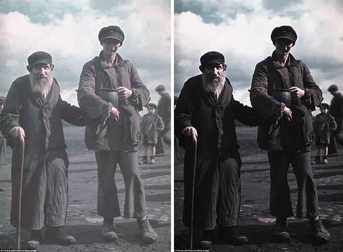 Снимок неизвестных мужчин в оккупированном польском городе Кунто, сделанный личным фотографом Гитлера.