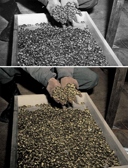 Золотые обручальные кольца, которые были найдены во время освобождения пленных из концлагеря Бухенвальд в 1945 году.