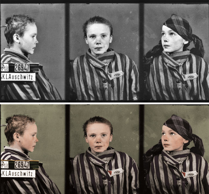 «Полицейский снимок» 14-летней узницы Освенцима - девочки Чеславы Квока, сделанный польским фотографом-заключенным Вильгельмом Брассе.