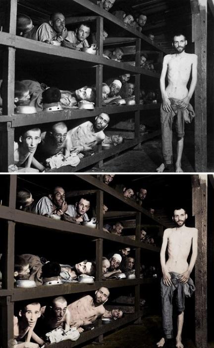 Истощенные заключенные одного из крупнейших концлагерей Второй мировой войны.