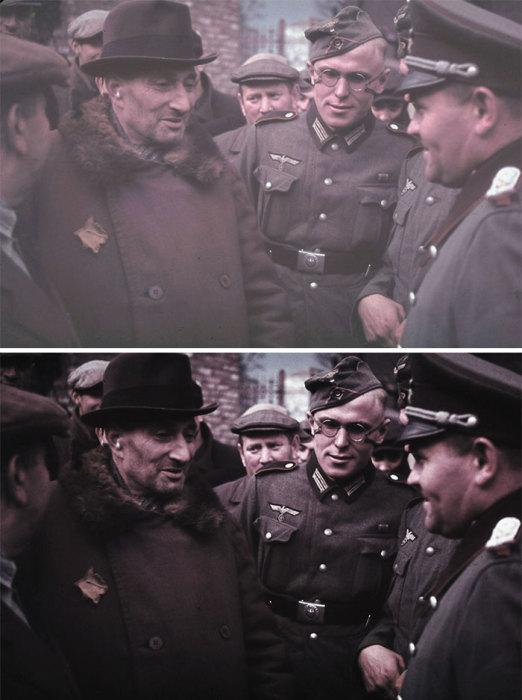 Беседа между пожилым евреем с желтой звездой на груди и немецким офицером в гетто городка Кунто.
