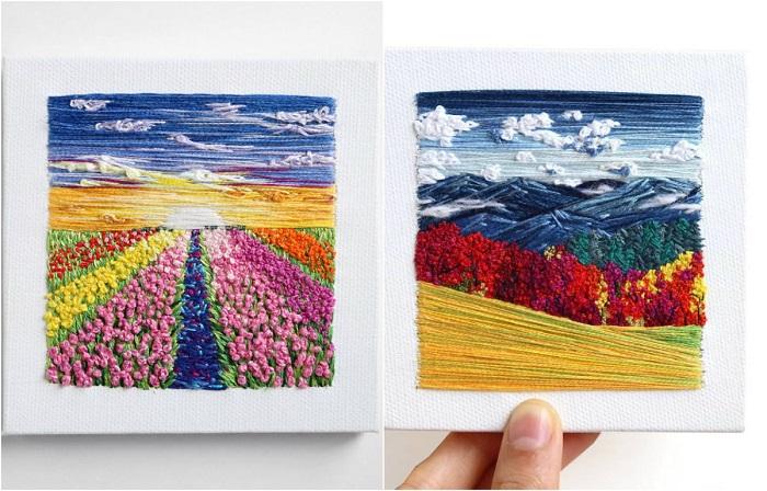 Вышитые пейзажи от художницы Каролины Торрес.