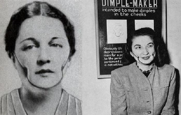 Устройство предназначено для того, чтобы делать ямочки на щеках в стиле Марлен Дитрих, (1936 год).