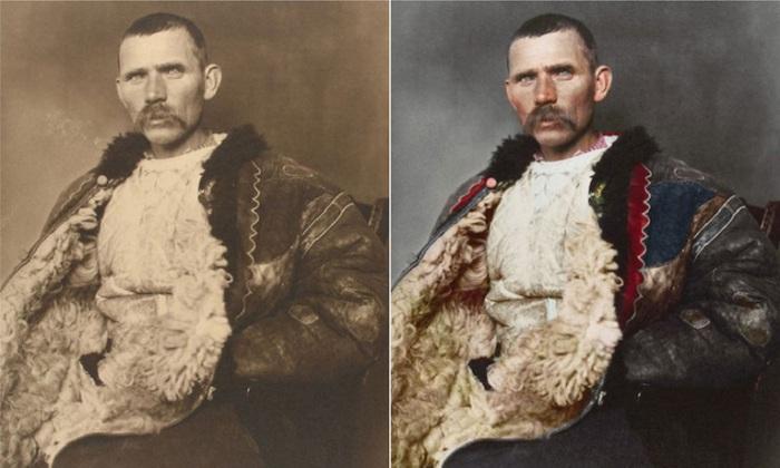 Мужчина в длинном пастушьем плаще, сшитый из четырех овечьих шкур, который в холодную пору служит теплой подстилкой.